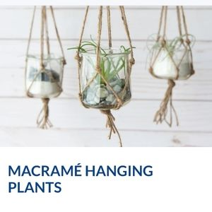 Macrame hanging plant with glass planter